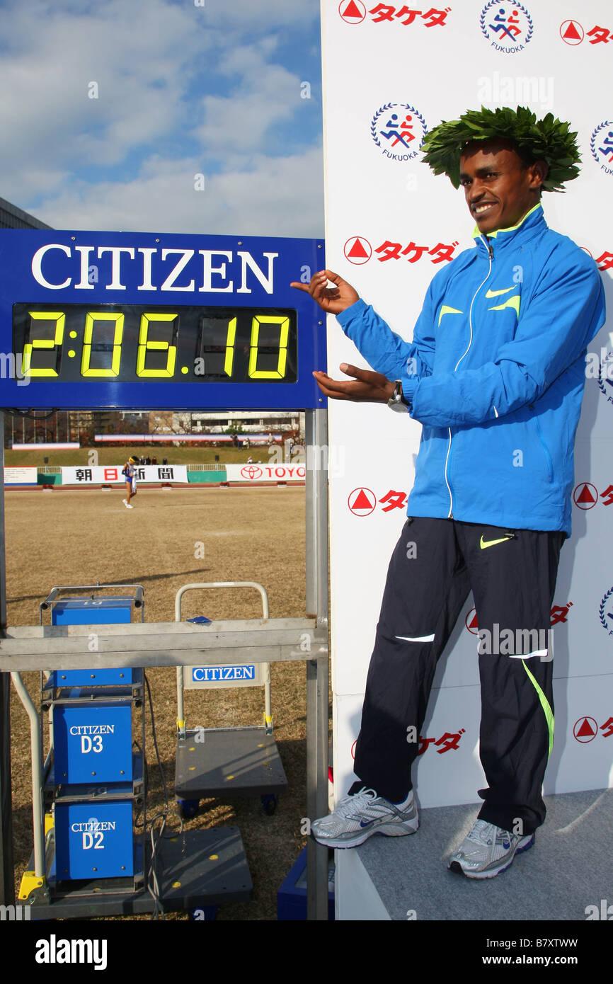 Tsegaya Kebede ETH DECEMBER 7 2008 Marathon The 62nd Fukuoka International Open Marathon Championship Start Goal - Stock Image