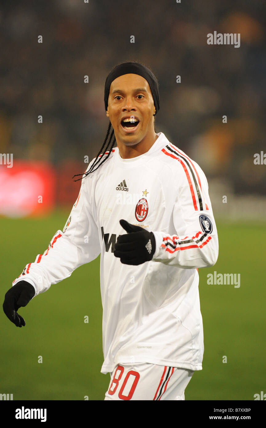 Ronaldinho Milan JANUARY 11 2009 Football Italian Serie A match between AS Roma and AC Milan at Stadio Olimpico - Stock Image