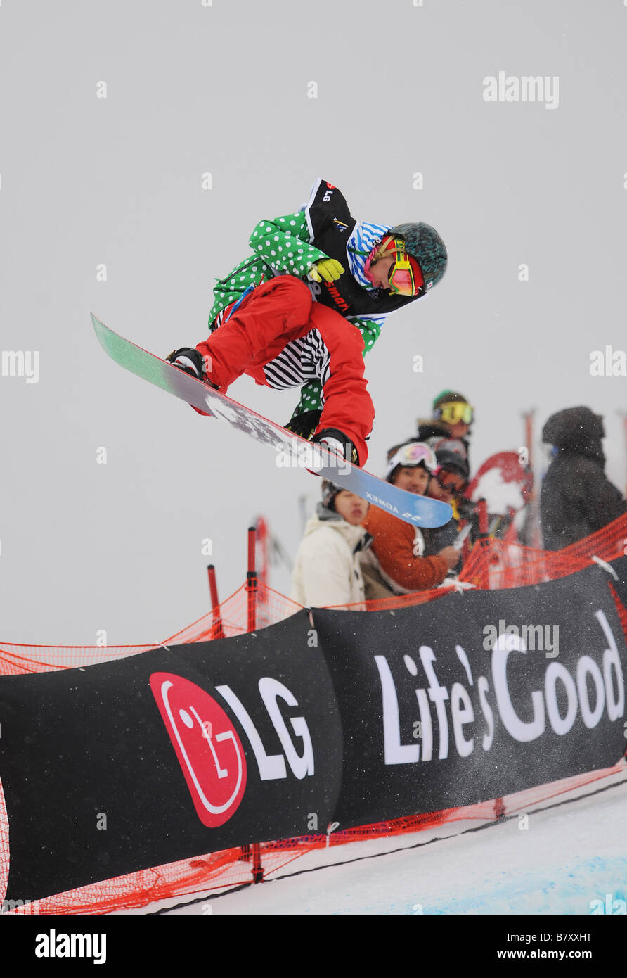Ryo Aono JPN JANUARY 14 2009 Snowboarding LG Snowboard FIS World Cup 2009 Half Pipe Gifu Japan Photo by Atsushi - Stock Image