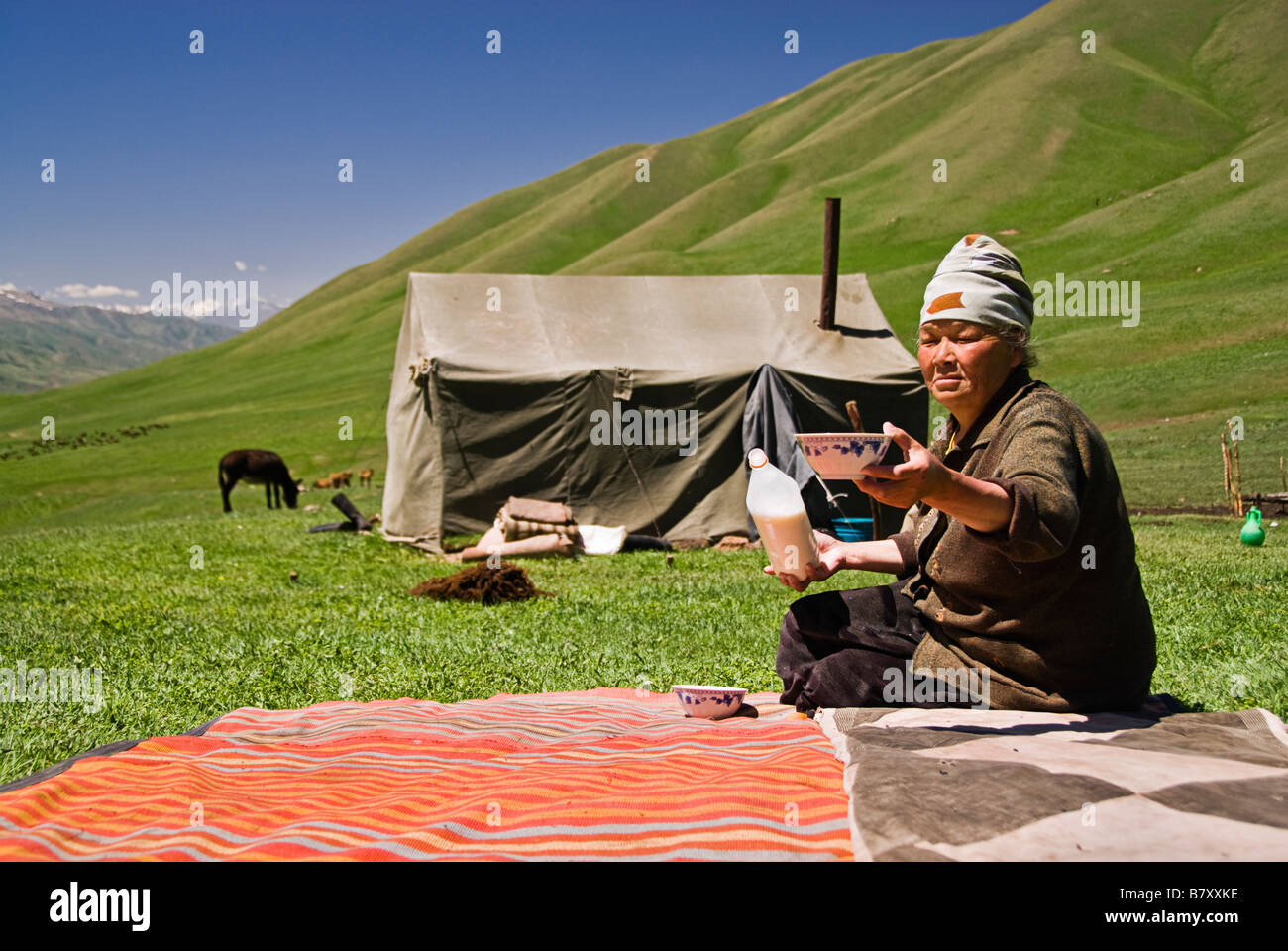 Kyrgyz woman outside a tent drinking horse milk Kyrgyzstan Stock Photo