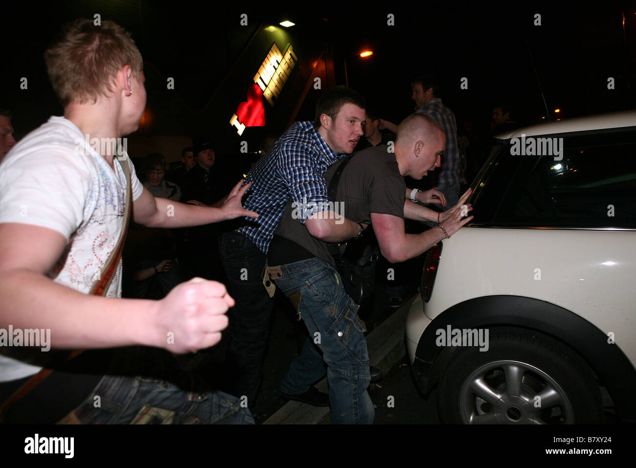 violence outside a nightclub in Oldham , UK - Stock Image