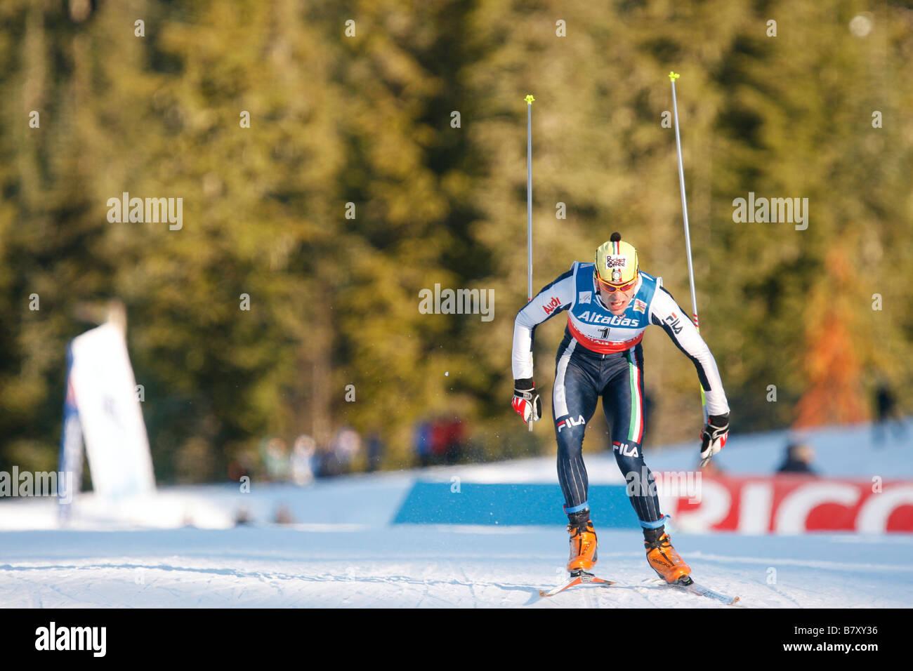 Pietro Piller Cottrer ITA JANUARY 17 2008 Cross Country Skiing VIESSMANN FIS Cross Country World Cup Mens 30km Pursuit - Stock Image