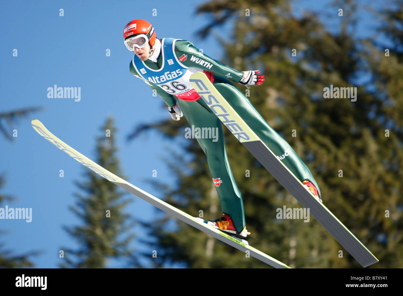 Bjoern Kircheisen GER JANUARY 17 2008 Nordic Combined Bjorn Kircheisen of Germany competes during the DKB FIS Nordic - Stock Image