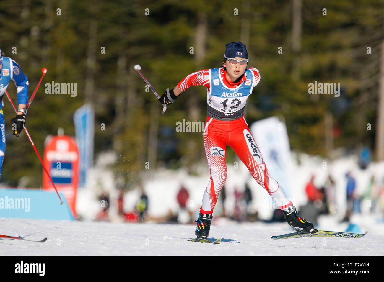 Masako Ishida JPN JANUARY 17 2008 Cross Country Skiing VIESSMANN FIS Cross Country World Cup Ladies 15km Pursuit - Stock Image