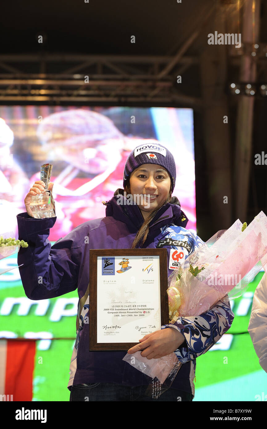 Tomoka Takeuchi JPN JANUARY 20 2009 Snowboarding FIS Snowboard World Championships womens parallel giant slalom - Stock Image