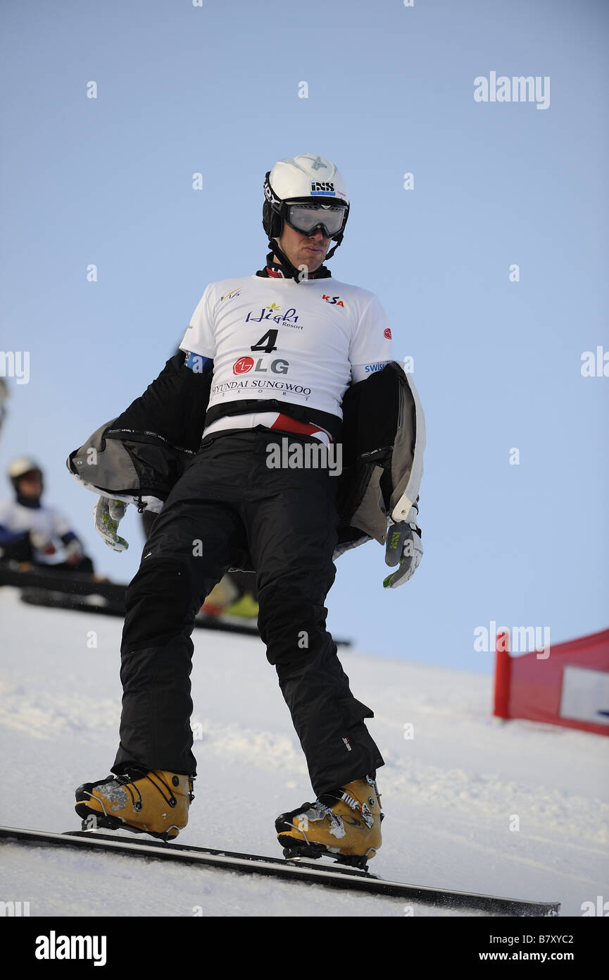 Simon Schoch SUI JANUARY 20 2009 Snowboarding FIS Snowboard World Championships mens parallel giant slalom in Gangwon - Stock Image
