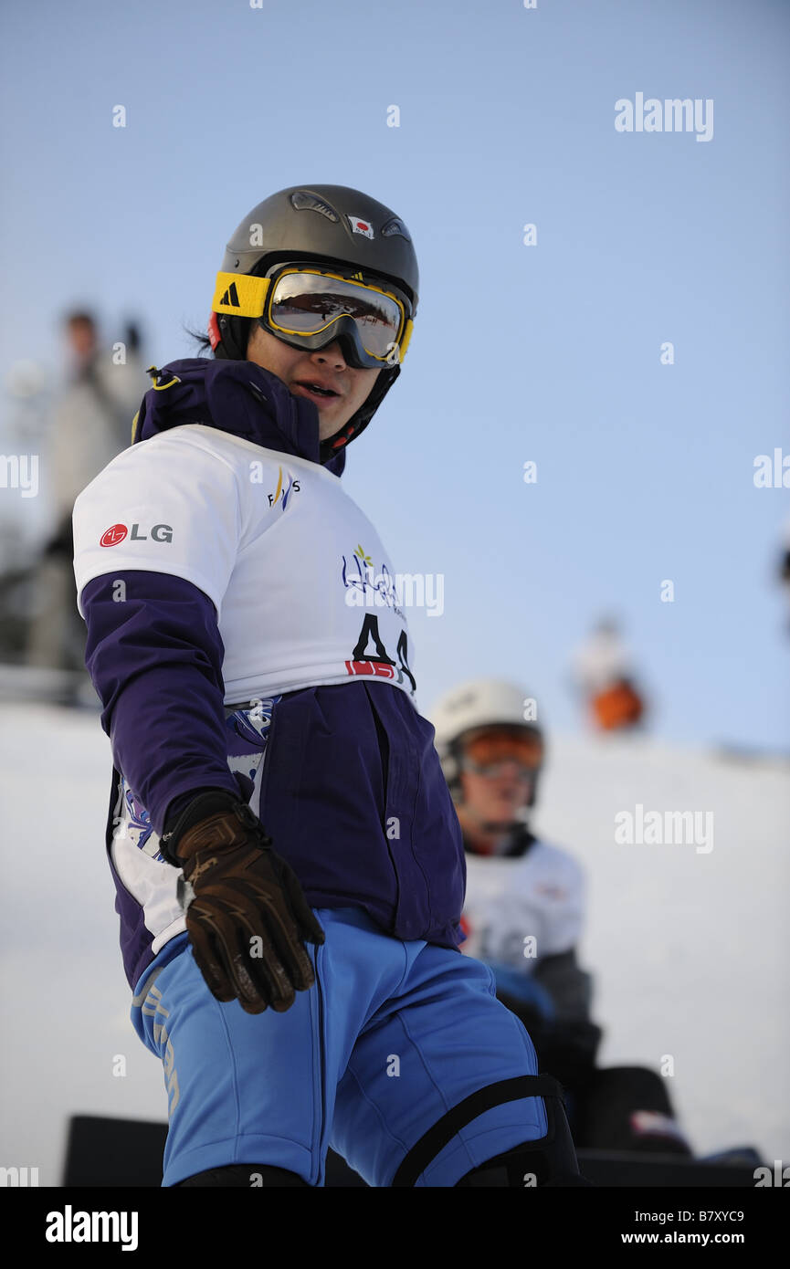 Fuyuki Hattori JPN JANUARY 20 2009 Snowboarding FIS Snowboard World Championships mens parallel giant slalom in - Stock Image