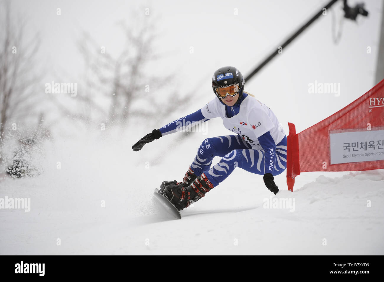 Amelie Kober GER JANUARY 21 2009 Snowboarding Amelie Kober of Germany competes during the FIS Snowboard World Championships - Stock Image