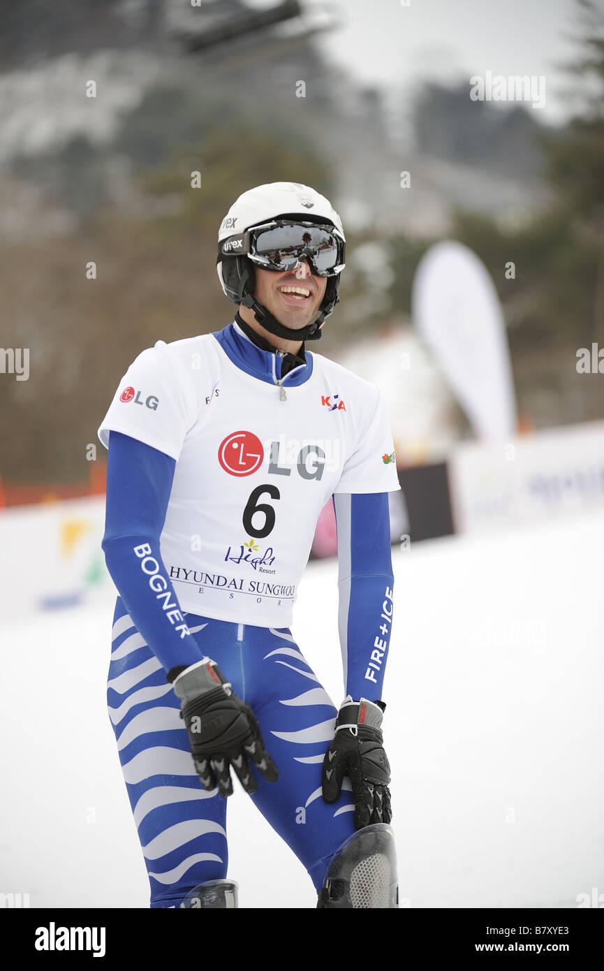 Patrick Bussler GER JANUARY 21 2009 Snowboarding Bronze medallist Patrick Bussler 6 of Germany takes 3rd place during - Stock Image