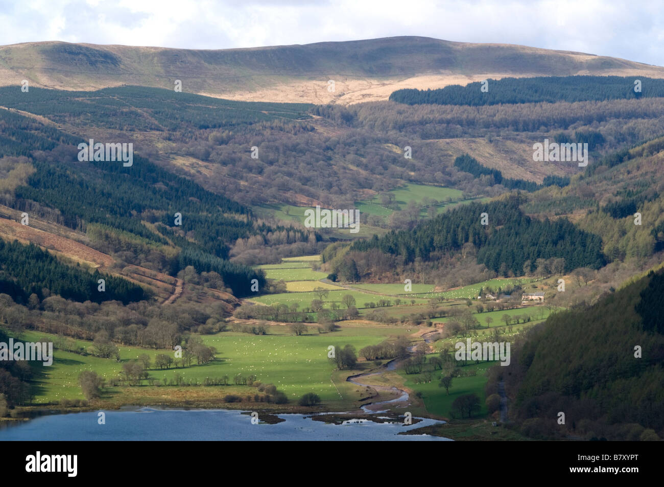 Aerial View of the Talybont Valley in the Brecon Beacons National Park Wales - Stock Image