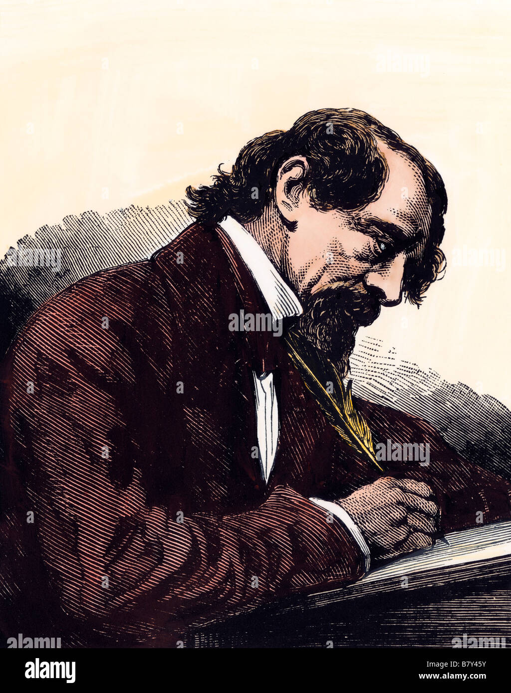 Charles Dickens at his writing desk. Hand-colored woodcut - Stock Image