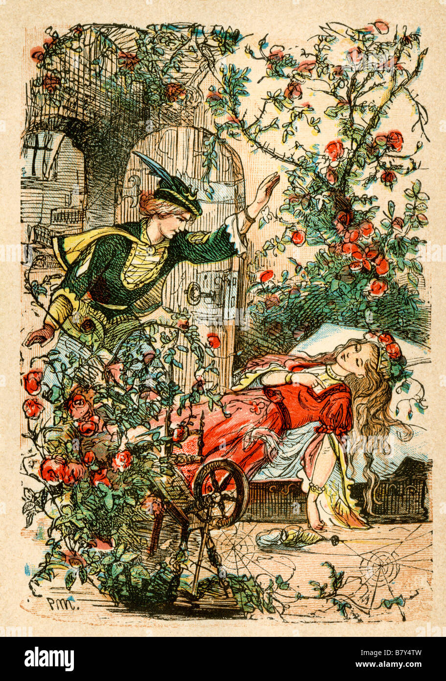 Sleeping Beauty from a Berlin edition of Grimms Fairy Tales 1865. Hand-colored woodcut illustration - Stock Image