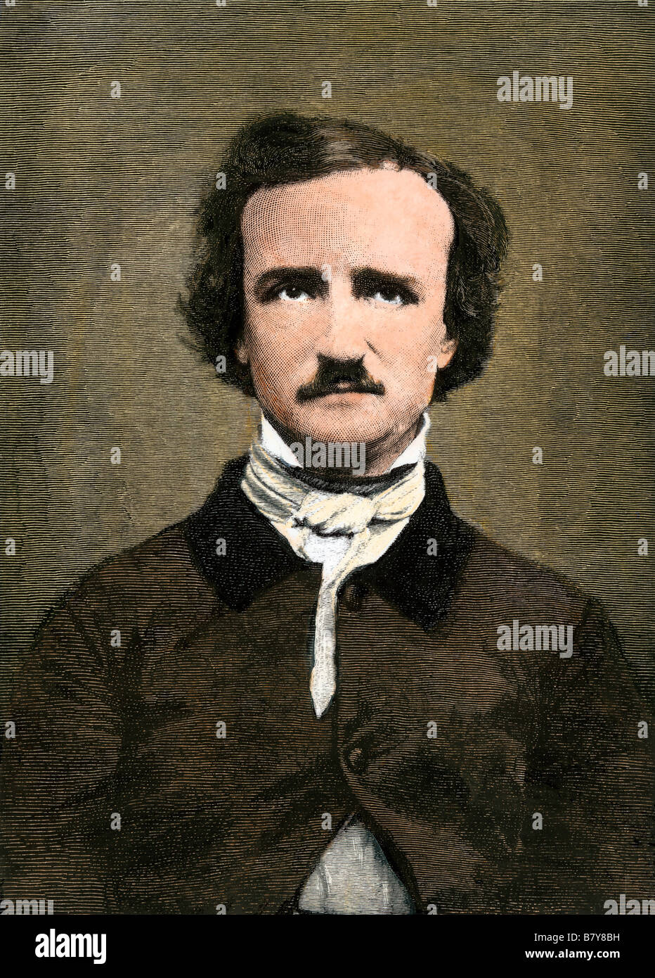 Edgar Allen Poe. Hand-colored woodcut - Stock Image