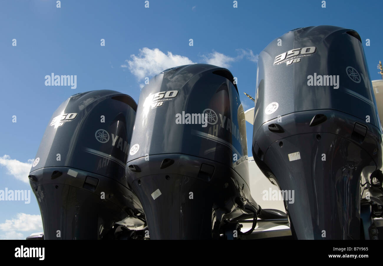 three outboard motors - Stock Image
