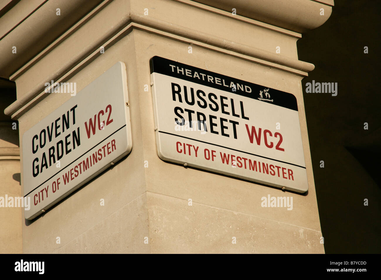 Covent Garden and Russell Street, WC2, London: street sign - Stock Image