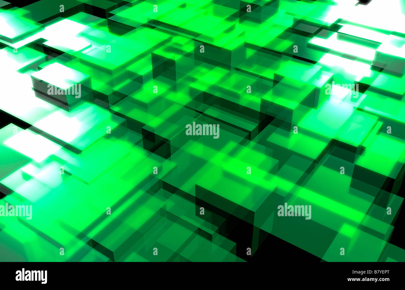 Green squares, abstract - Stock Image