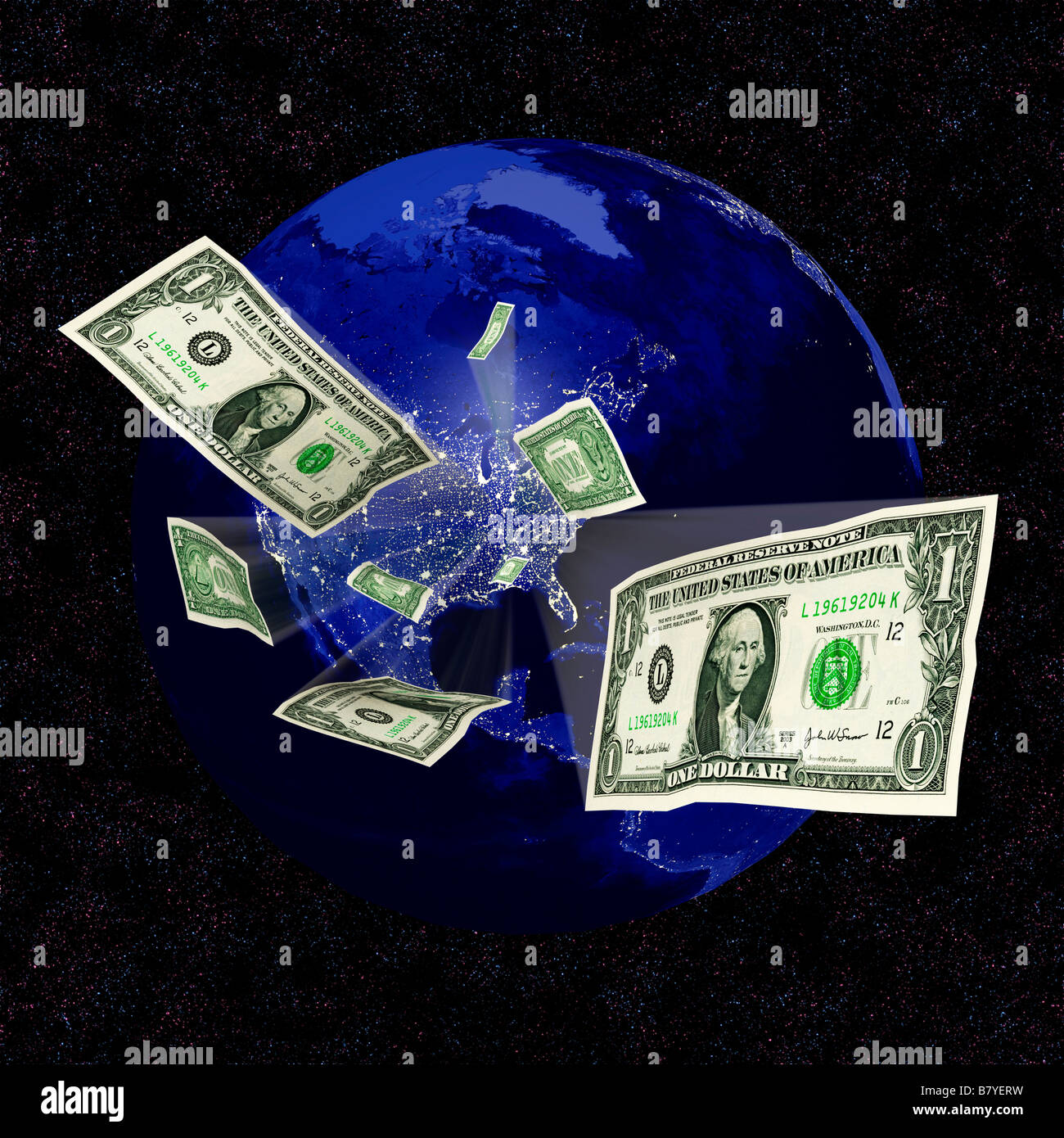 Wasting energy concept dollars emerging from an illuminated USA - digital composite - Stock Image