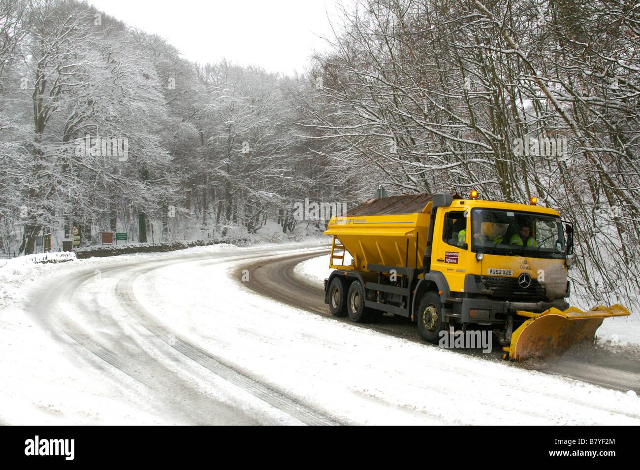 Snowplow in England. Winter 2009. Worcestershire - Stock Image