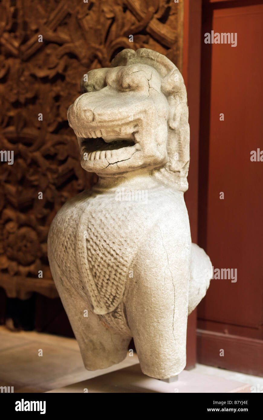 Display of ancient Asian art Jim Thompson s House Museum in central Bangkok Thailand - Stock Image
