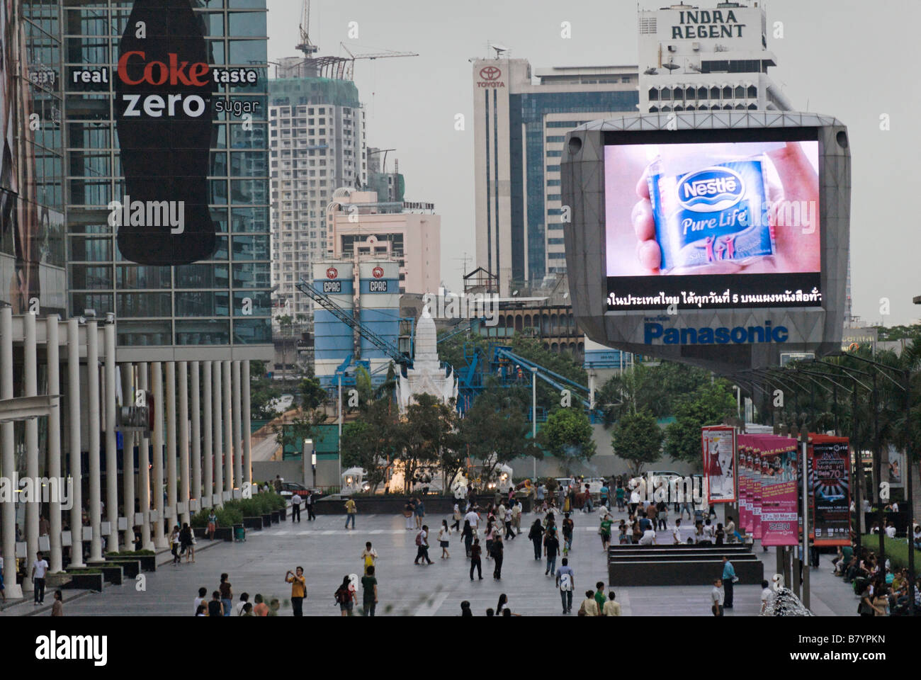 Giant flat screen tv advertising Nestle bottled drinking water Pathumwan district in central Bangkok Thailand - Stock Image
