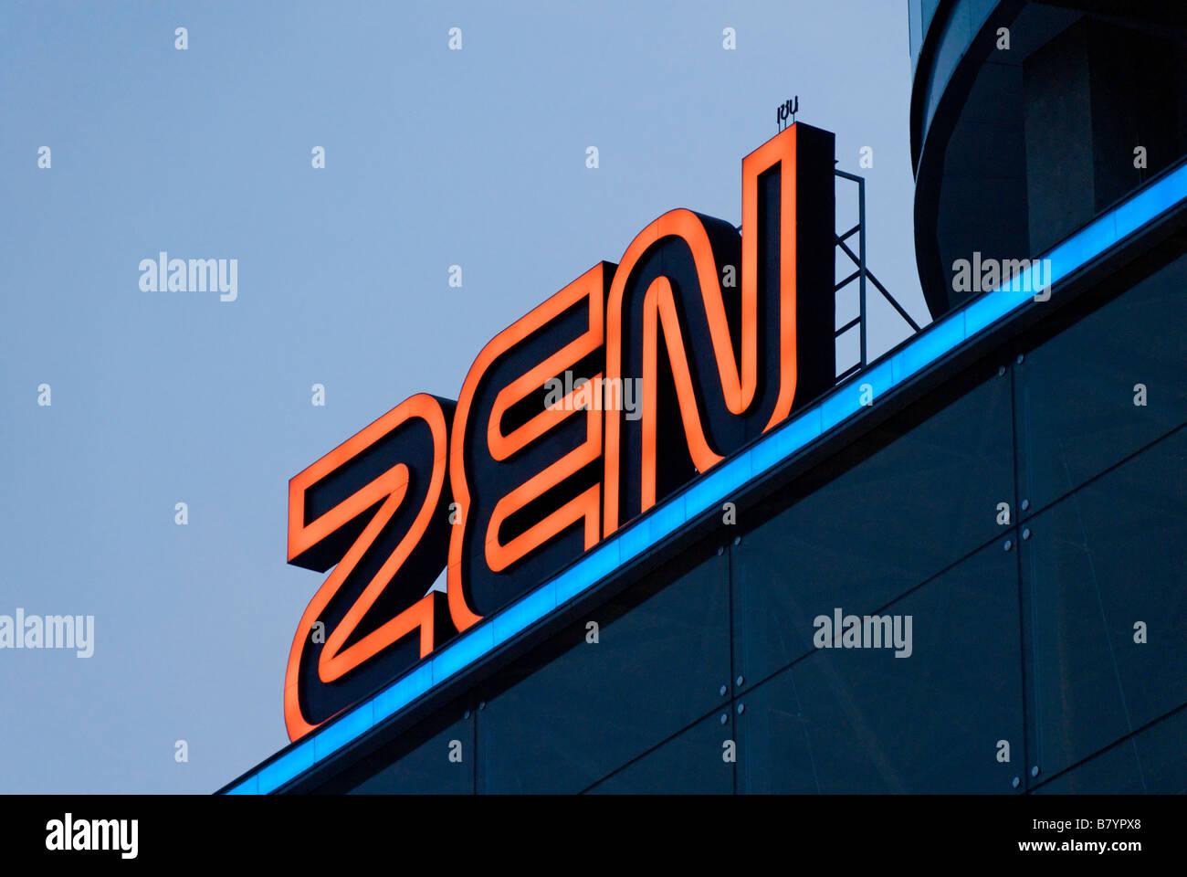 Zen upmarket shopping mall sign Pathumwan district in central Bangkok Thailand - Stock Image