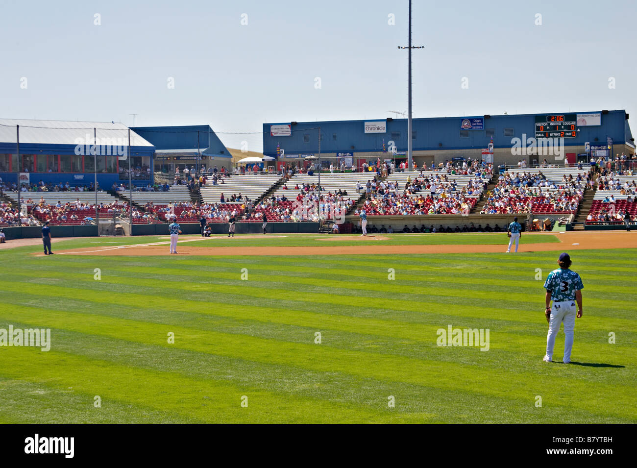 SPORTS Geneva Illinois Kane County Cougars Class A professional baseball team home game stands and field infield - Stock Image