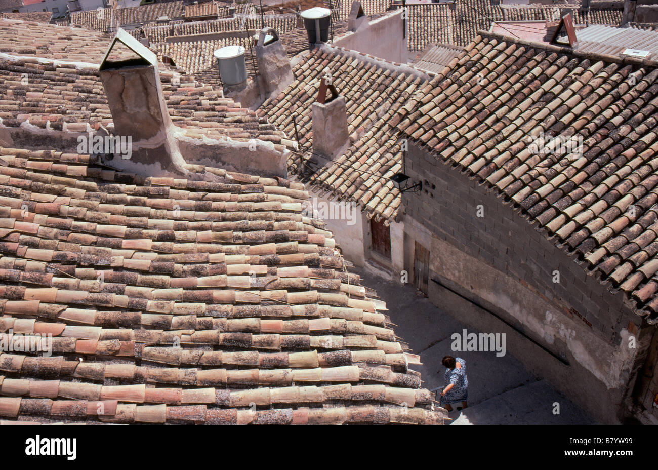 Looking down on the rooftops of Cehegin in Murcia Province Southern Spain - Stock Image