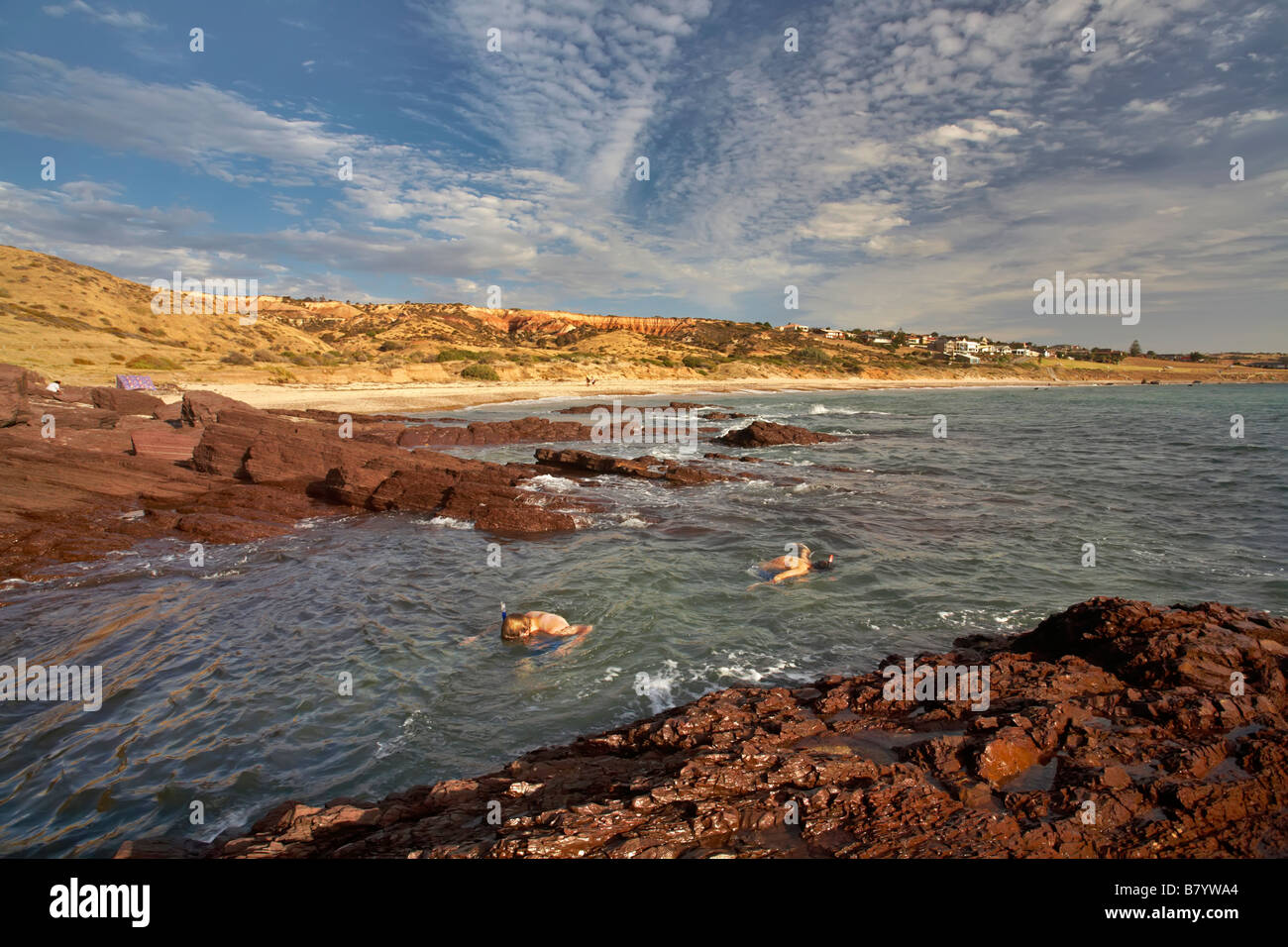 two boys snorkeling in the Shallows at Hallett Cove Stock Photo