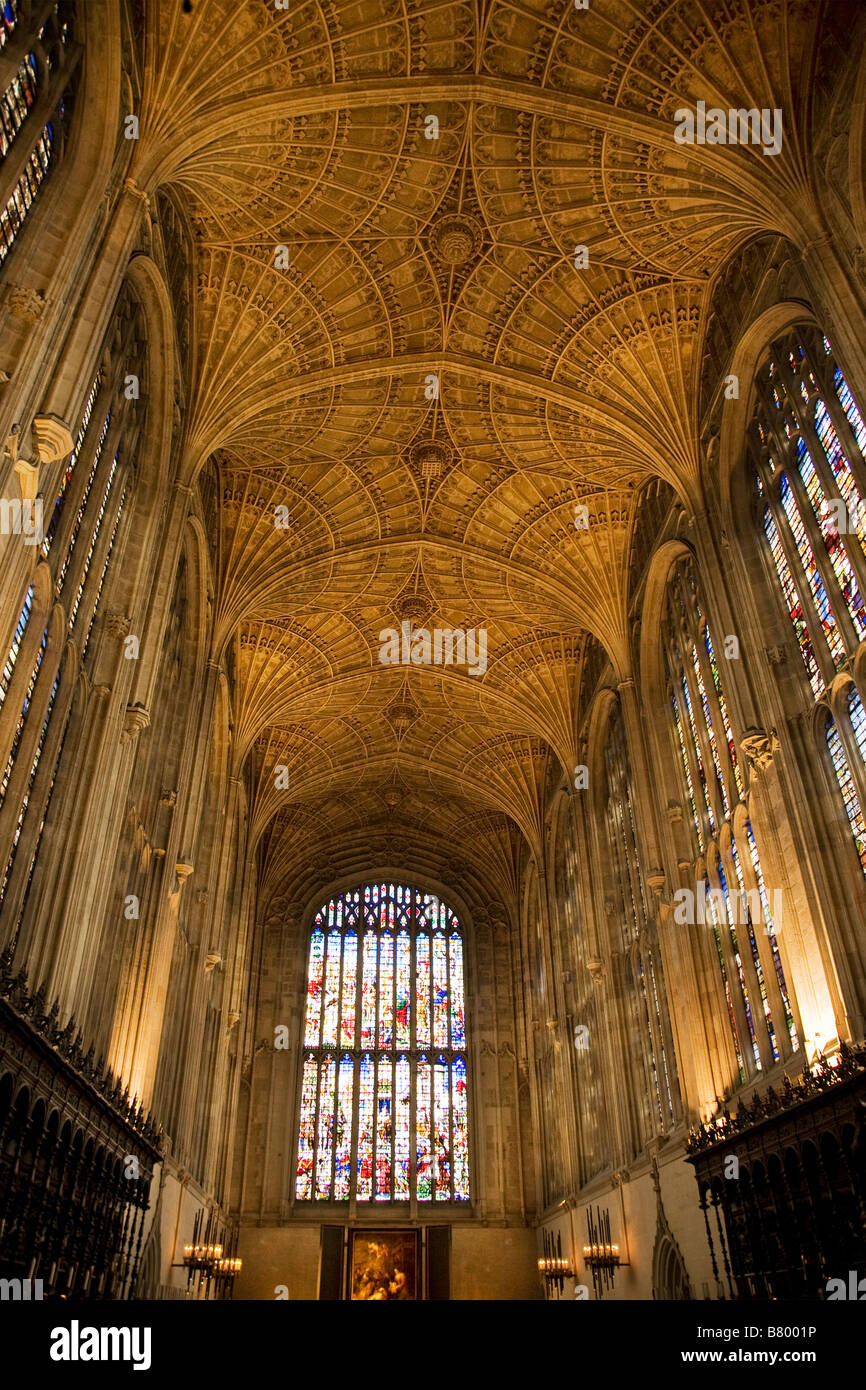 King's College Chapel Cambridge vaulted ceiling Stock Photo