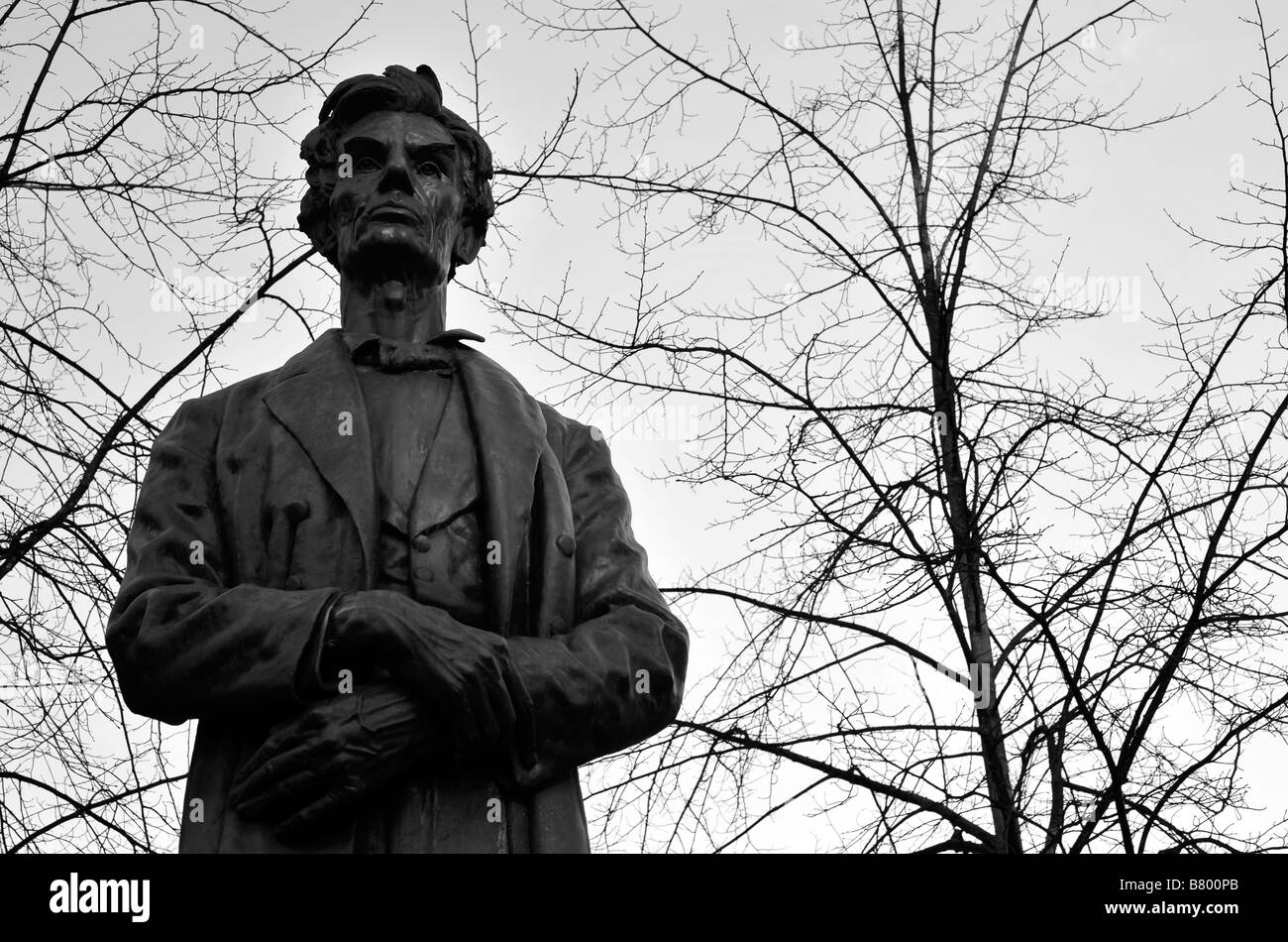 abraham lincoln american president statue manchester uk england monochrome black and white USA - Stock Image