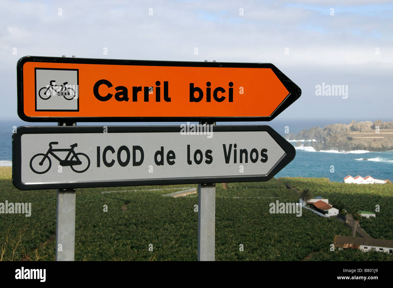 Spanish cycle route signs close to the west coast of Tenerife Canary Islands - Stock Image