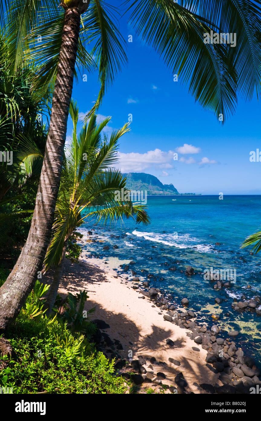 Hideaways Beach and the Na Pali Coast Island of Kauai Hawaii - Stock Image
