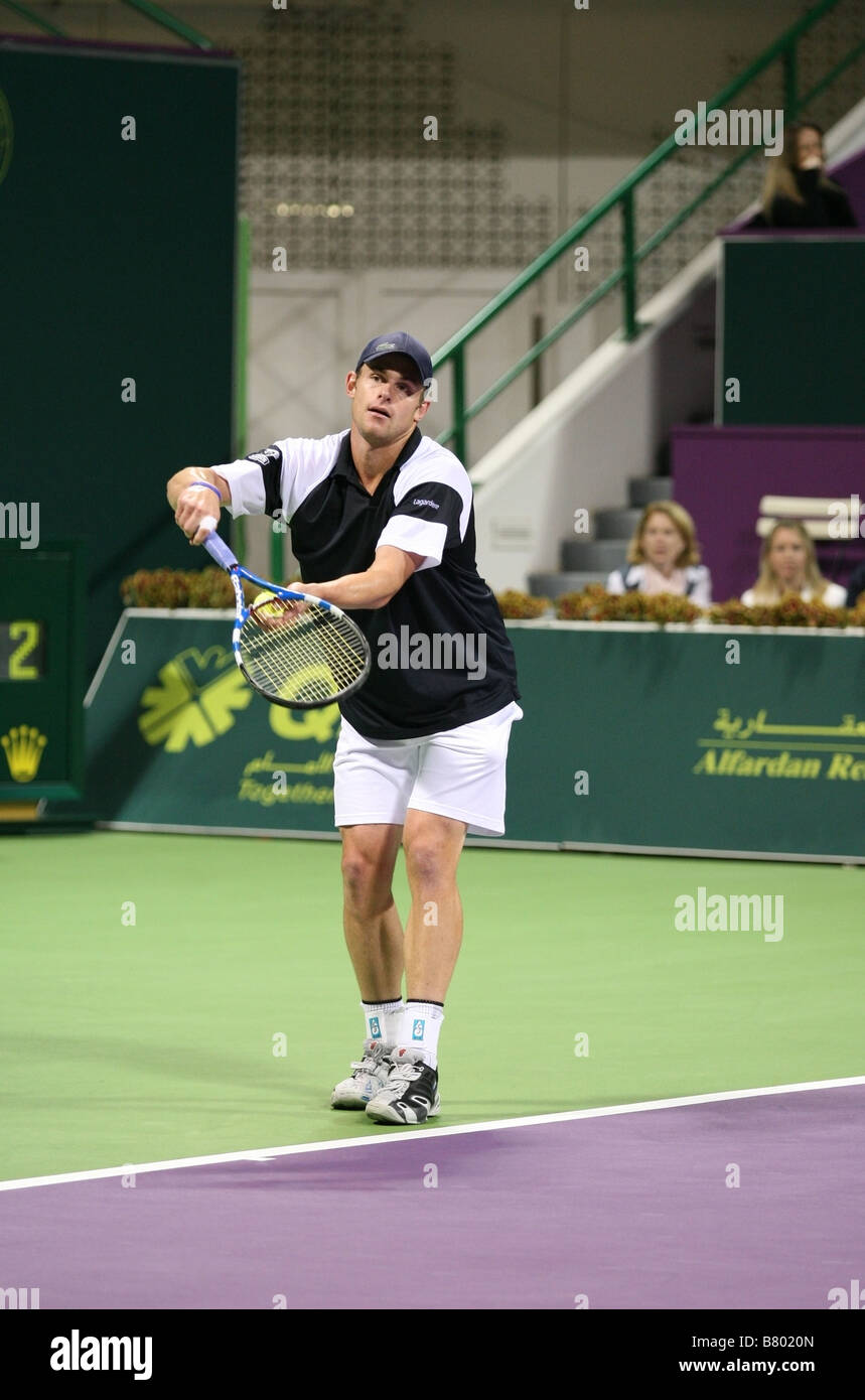 American Andy Roddick in the final of the Qatar ExxonMobil Open tournament 2009 which he lost - Stock Image