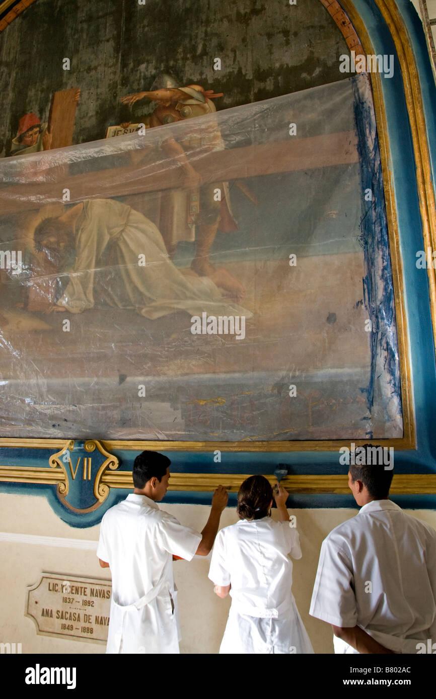 Leon Cathedral, restoration work - Stock Image