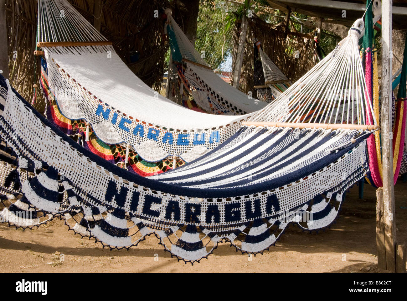 Masaya's handicraft markets are famous for hammocks and other handmade articles - Stock Image