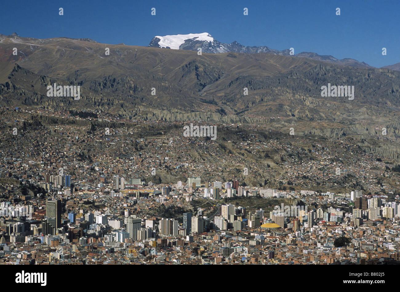 Central La Paz and Mt Mururata, Bolivia - Stock Image