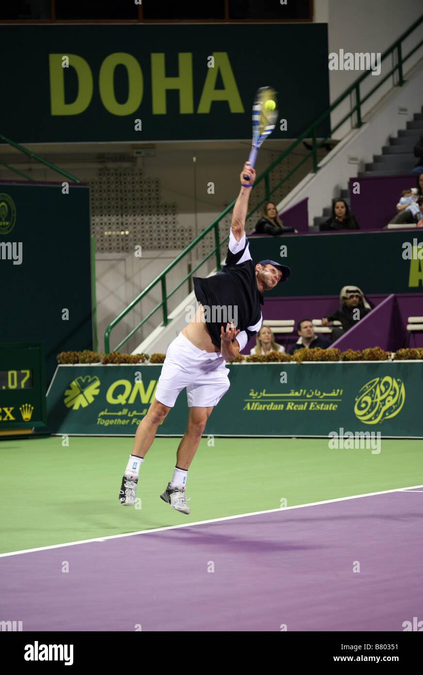 American Andy Roddick in the final of the Qatar ExxonMobil Open tournament 2009 which he lost to Briton Andy Murray - Stock Image