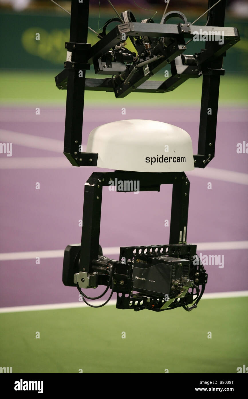 A Panasonic AK HC1500 spidercam in action at the Qatar men s tennis championship 2009 - Stock Image