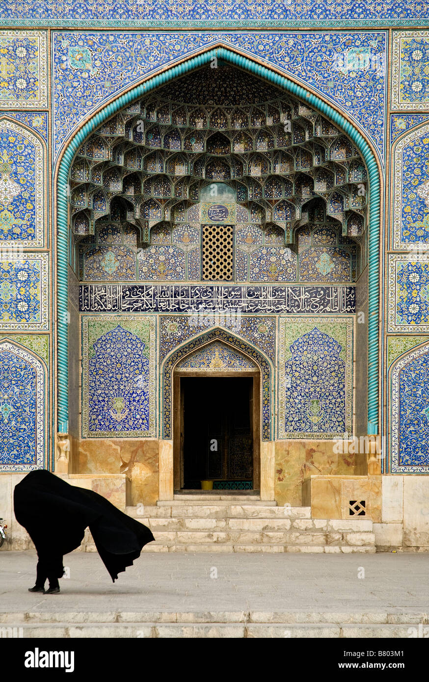 mosque door in isfahan esfahan iran - Stock Image