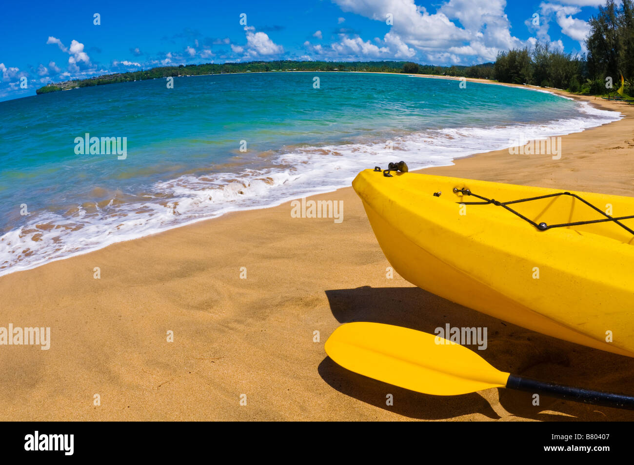 Kayak and paddle on beach on Hanalei Bay Island of Kauai Hawaii - Stock Image
