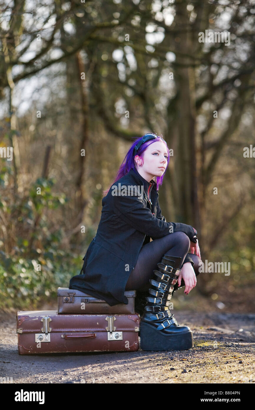 Girl Goth Boots High Resolution Stock