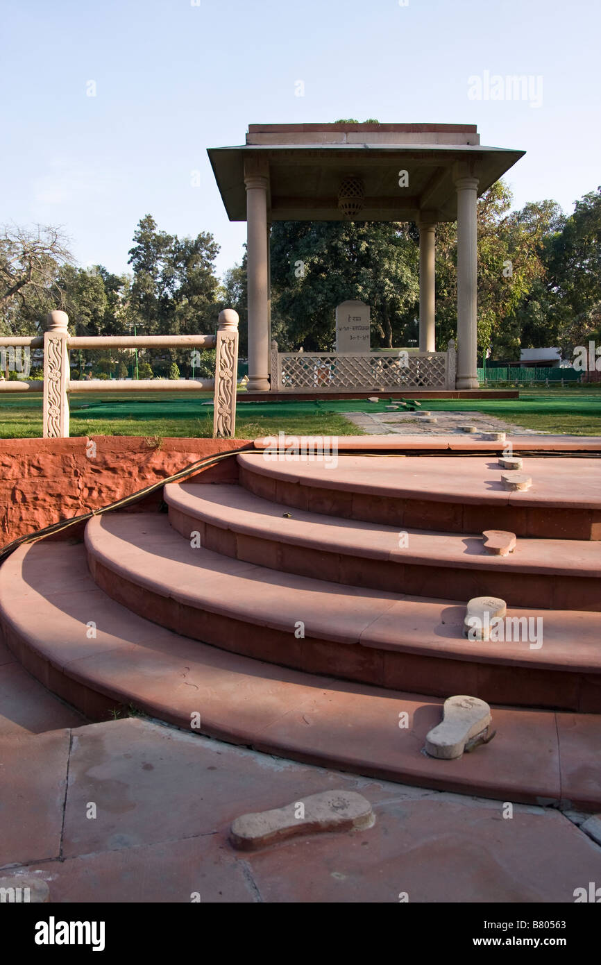 The Site of Ghandhi's Assasination at His Home now a Museum. The Footsteps Represent His Last Walk Before his - Stock Image