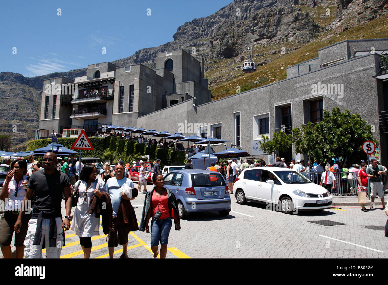 the lower cable car station which runs cable cars to the top of table mountain on tafelberg road cape town south - Stock Image