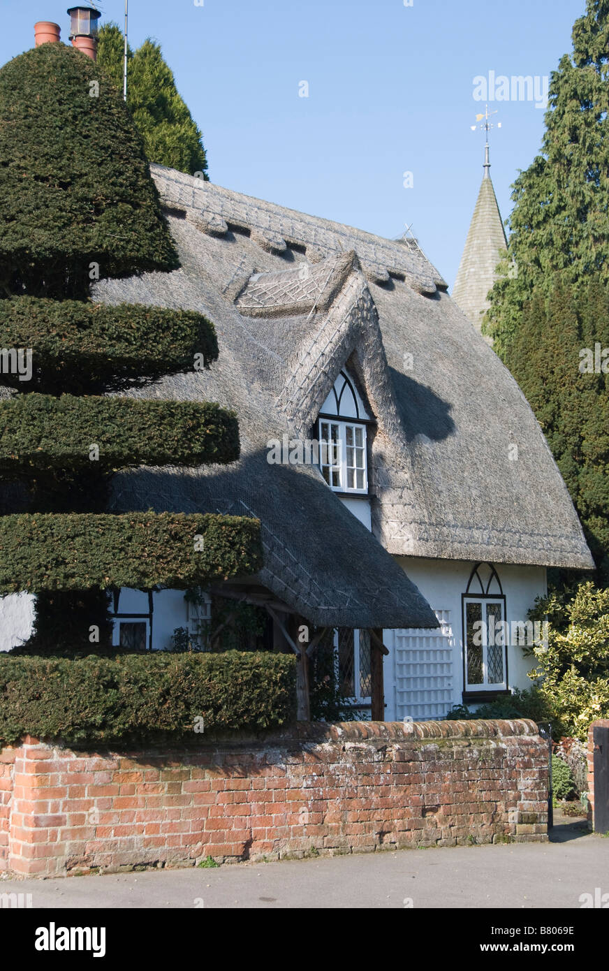 Yew Tree Cottage, Birdbrook, Essex, UK. A neatly clipped yew gives this thatched cottage its name - Stock Image