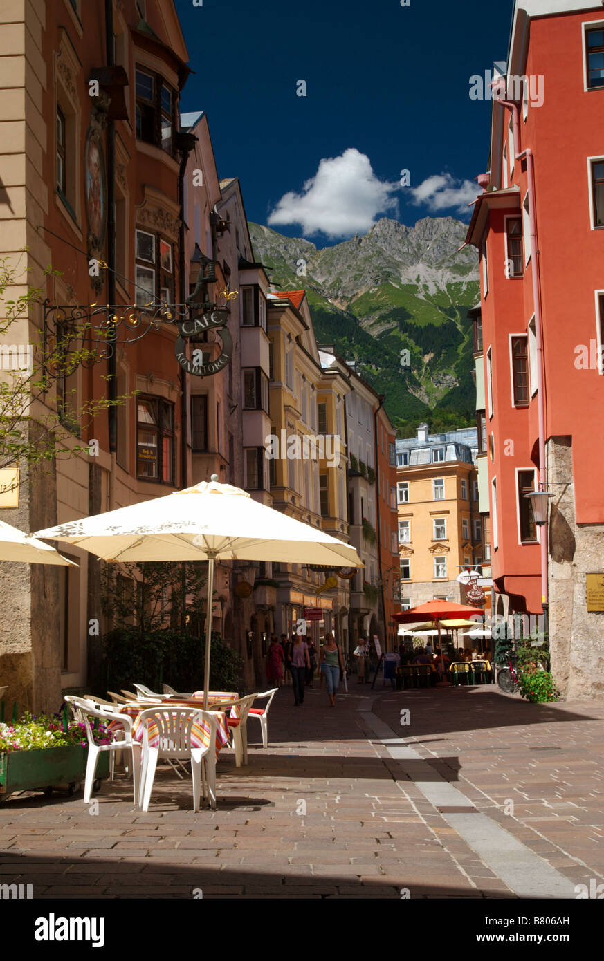 Innsbruck sunny street Stock Photo