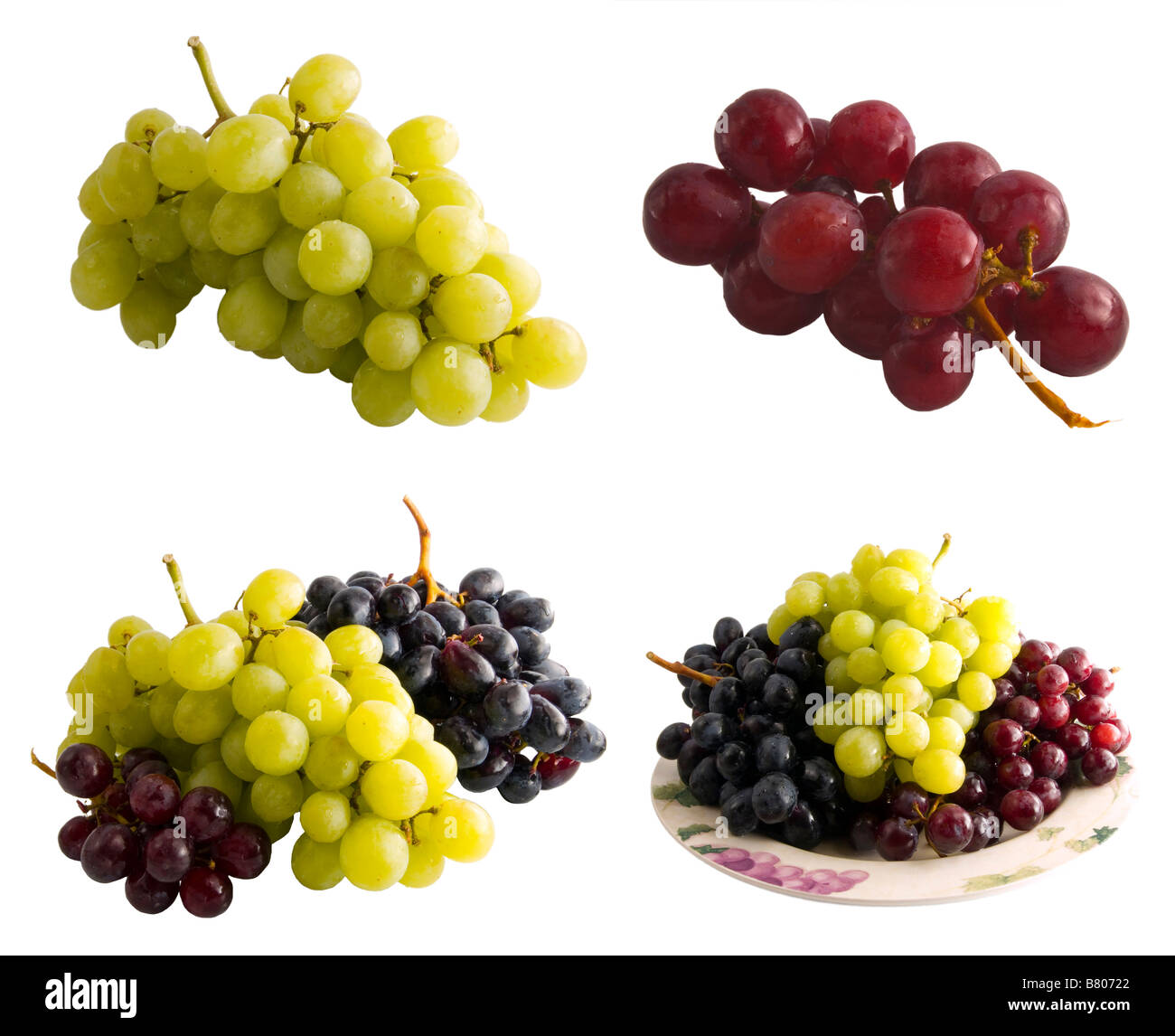 A series of fresh grapes isolated on a white background The full resolution photo of each can be fround in my portfolio - Stock Image