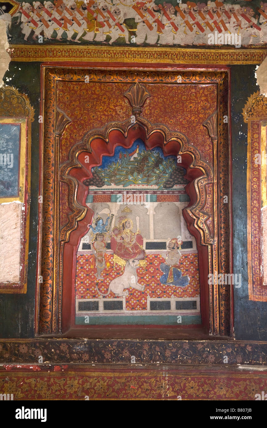 Rajasthan, India, Miniture painting, Indian painting, Chattar Mahal Bundi India,Interior - Stock Image