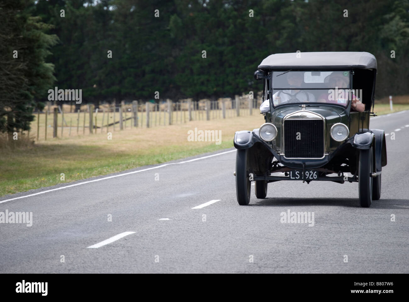 Vintage car on Highway 72, near Oxford, Canterbury, New Zealand - Stock Image