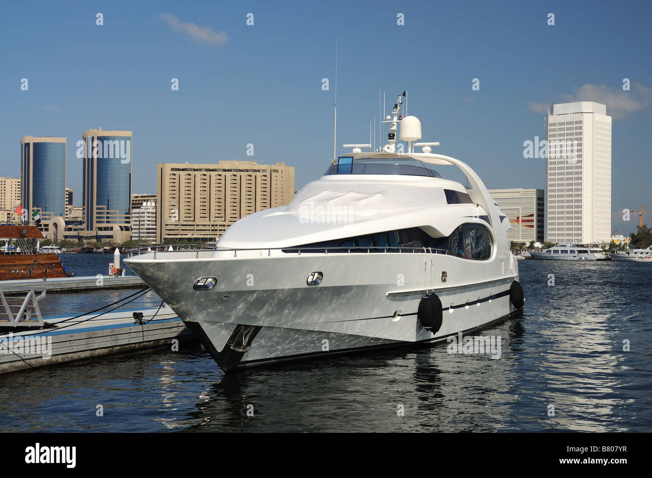 Luxury Yacht at Dubai Creek - Stock Image