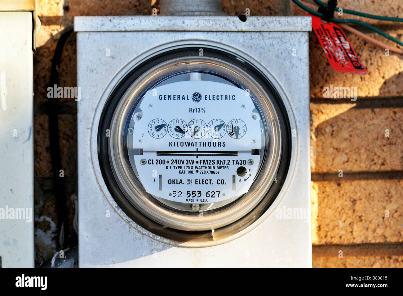 A residential electrical meter. Oklahoma, USA. - Stock Image